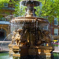 Town Hall fountain on summers day