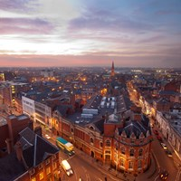 Leicester skyline at night