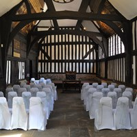the guildhall set up for a wedding