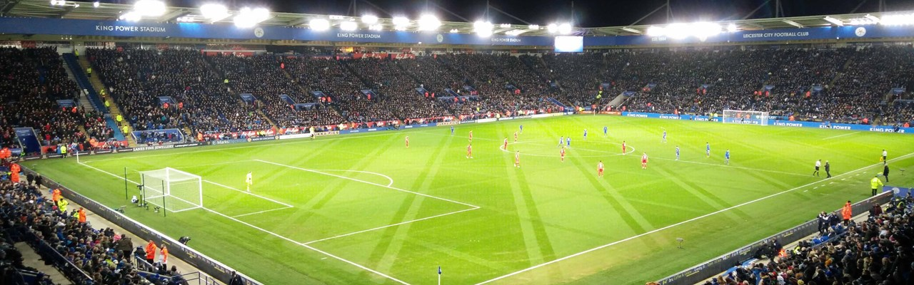 Image of King Power Stadium at night