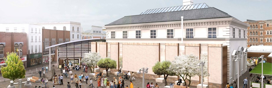 Artists' impression of development on old outdoor market