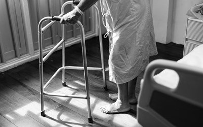 Patient in hospital balck and white