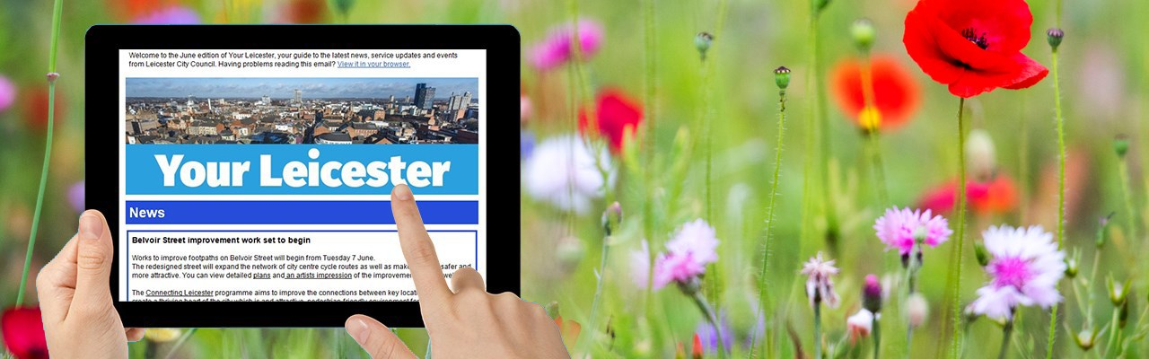 Your Leicester newsletter on a tablet device